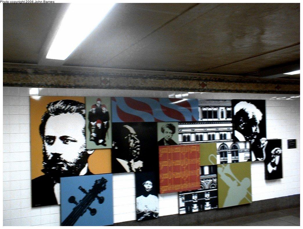 (154k, 1044x788)<br><b>Country:</b> United States<br><b>City:</b> New York<br><b>System:</b> New York City Transit<br><b>Line:</b> BMT Broadway Line<br><b>Location:</b> 57th Street<br><b>Photo by:</b> John Barnes<br><b>Date:</b> 6/17/2006<br><b>Artwork:</b> <i>Carnegie Hall Montage</i>, Josh Scharf, 1993<br><b>Viewed (this week/total):</b> 1 / 4068