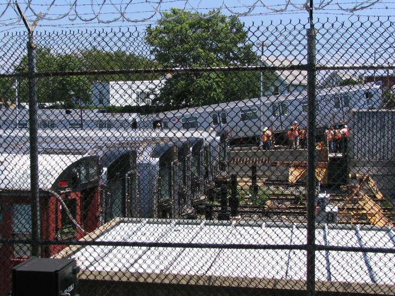 (175k, 800x600)<br><b>Country:</b> United States<br><b>City:</b> New York<br><b>System:</b> New York City Transit<br><b>Location:</b> Rockaway Parkway (Canarsie) Yard<br><b>Car:</b> R-143 (Kawasaki, 2001-2002) 8277 <br><b>Photo by:</b> Dante D. Angerville<br><b>Date:</b> 6/21/2006<br><b>Notes:</b> Train in Canarsie Yard overshoots bumper after motorman has seizure.<br><b>Viewed (this week/total):</b> 12 / 20756