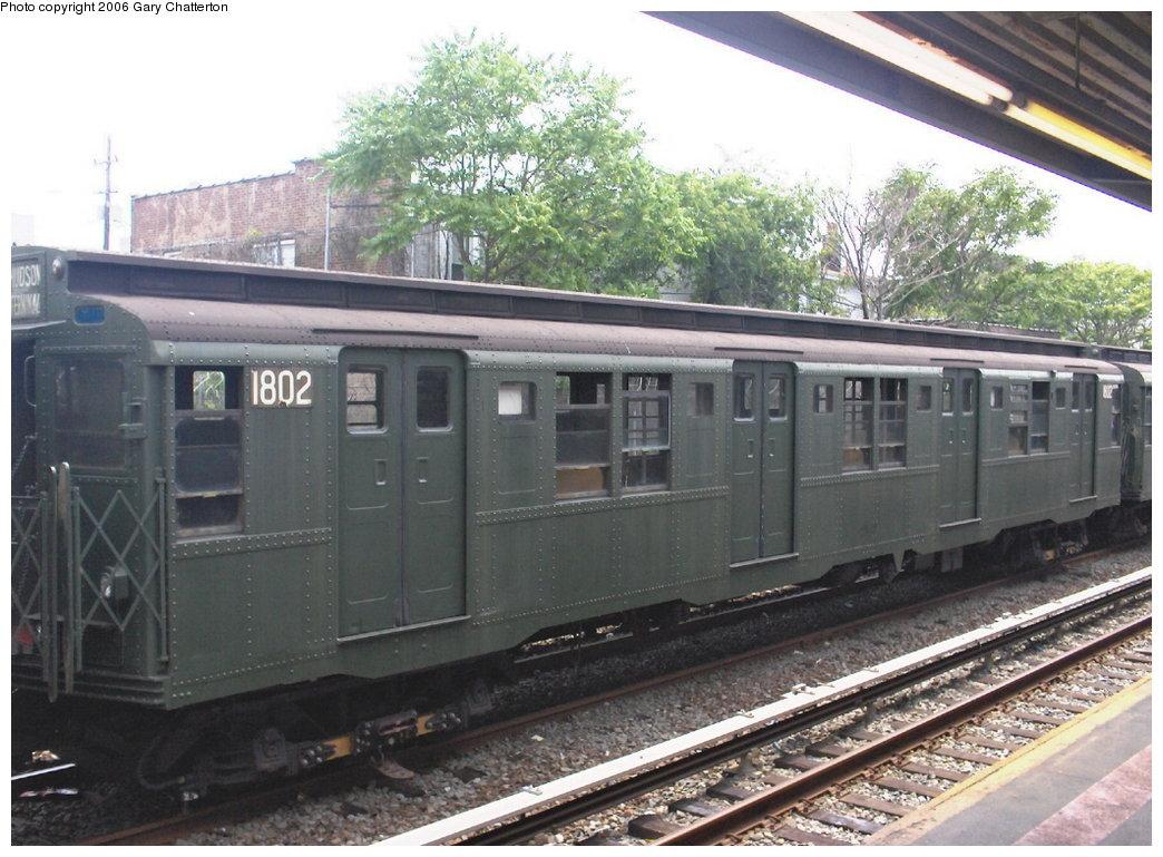 (185k, 1044x769)<br><b>Country:</b> United States<br><b>City:</b> New York<br><b>System:</b> New York City Transit<br><b>Line:</b> IND Rockaway Line<br><b>Location:</b> Rockaway Park/Beach 116th Street<br><b>Route:</b> Fan Trip<br><b>Car:</b> R-9 (Pressed Steel, 1940) 1802 <br><b>Photo by:</b> Gary Chatterton<br><b>Date:</b> 6/17/2006<br><b>Viewed (this week/total):</b> 1 / 2118