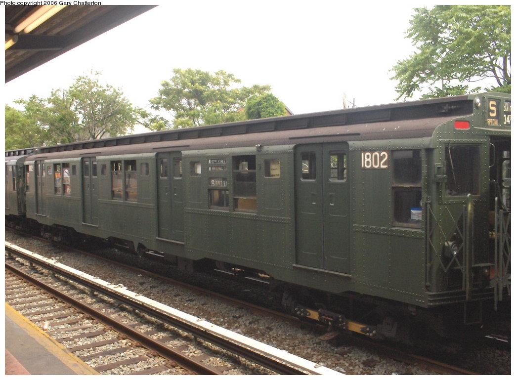 (168k, 1044x769)<br><b>Country:</b> United States<br><b>City:</b> New York<br><b>System:</b> New York City Transit<br><b>Line:</b> IND Rockaway Line<br><b>Location:</b> Rockaway Park/Beach 116th Street<br><b>Route:</b> Fan Trip<br><b>Car:</b> R-9 (Pressed Steel, 1940) 1802 <br><b>Photo by:</b> Gary Chatterton<br><b>Date:</b> 6/17/2006<br><b>Viewed (this week/total):</b> 0 / 2136