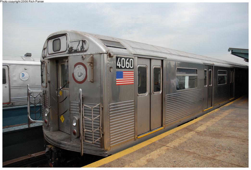 (167k, 1044x705)<br><b>Country:</b> United States<br><b>City:</b> New York<br><b>System:</b> New York City Transit<br><b>Line:</b> IND Fulton Street Line<br><b>Location:</b> Rockaway Boulevard<br><b>Route:</b> A<br><b>Car:</b> R-38 (St. Louis, 1966-1967) 4060 <br><b>Photo by:</b> Richard Panse<br><b>Date:</b> 6/17/2006<br><b>Viewed (this week/total):</b> 0 / 4023