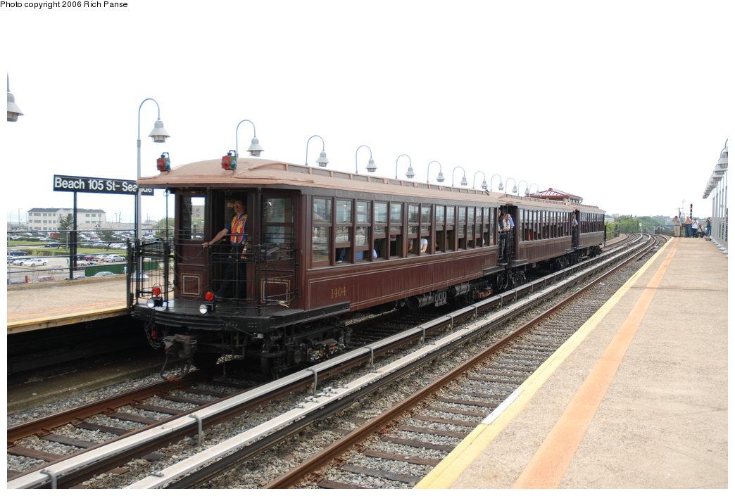 (184k, 1044x705)<br><b>Country:</b> United States<br><b>City:</b> New York<br><b>System:</b> New York City Transit<br><b>Line:</b> IND Rockaway Line<br><b>Location:</b> Beach 105th Street/Seaside<br><b>Route:</b> Fan Trip<br><b>Car:</b> BMT Elevated Gate Car 1404-1273-1407 <br><b>Photo by:</b> Richard Panse<br><b>Date:</b> 6/17/2006<br><b>Viewed (this week/total):</b> 0 / 3673