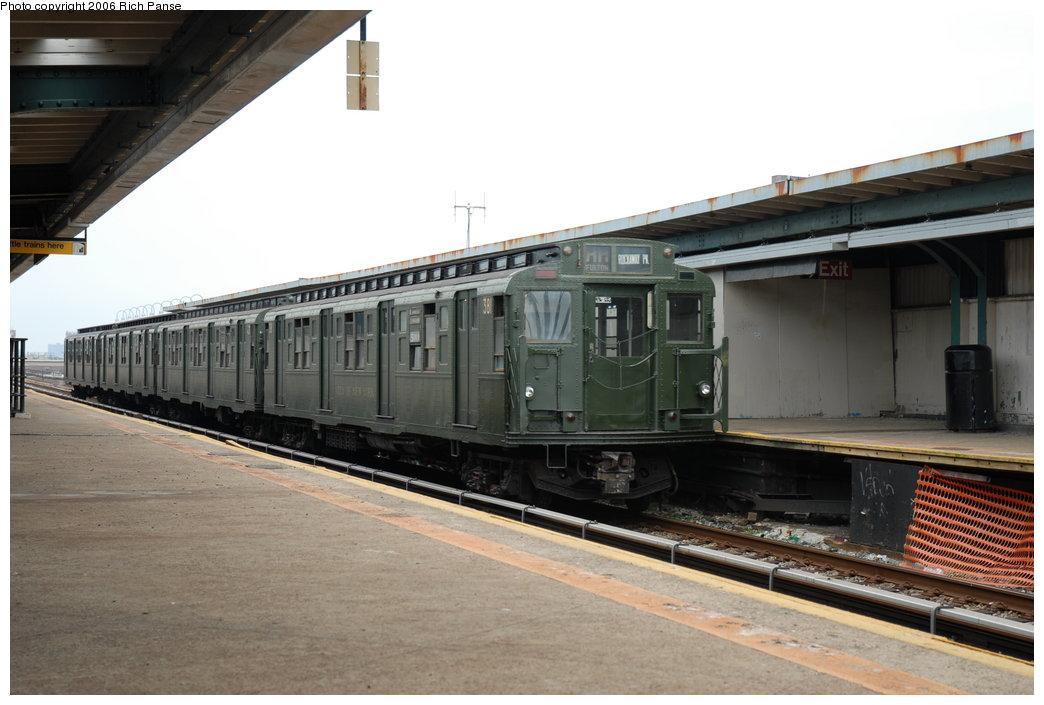 (167k, 1044x705)<br><b>Country:</b> United States<br><b>City:</b> New York<br><b>System:</b> New York City Transit<br><b>Line:</b> IND Rockaway Line<br><b>Location:</b> Beach 105th Street/Seaside<br><b>Route:</b> Fan Trip<br><b>Car:</b> R-1 (American Car & Foundry, 1930-1931) 381 <br><b>Photo by:</b> Richard Panse<br><b>Date:</b> 6/17/2006<br><b>Viewed (this week/total):</b> 0 / 2966