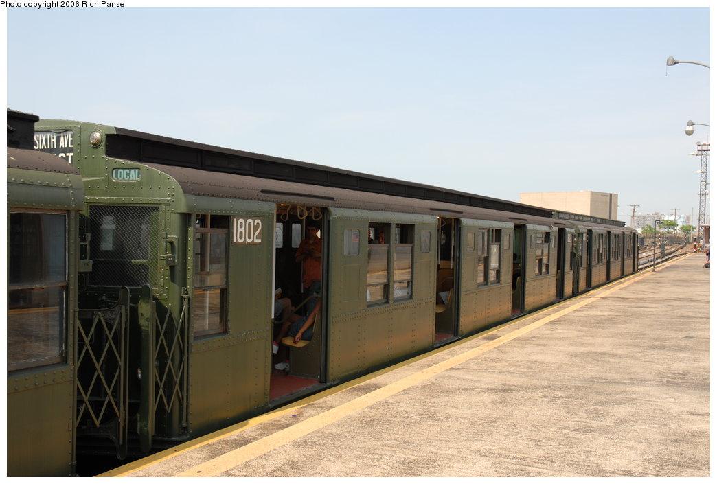 (160k, 1044x705)<br><b>Country:</b> United States<br><b>City:</b> New York<br><b>System:</b> New York City Transit<br><b>Line:</b> IND Rockaway Line<br><b>Location:</b> Rockaway Park/Beach 116th Street<br><b>Route:</b> Fan Trip<br><b>Car:</b> R-9 (Pressed Steel, 1940) 1802 <br><b>Photo by:</b> Richard Panse<br><b>Date:</b> 6/17/2006<br><b>Viewed (this week/total):</b> 0 / 2461