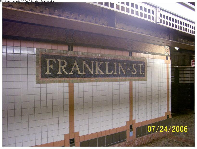 (112k, 820x620)<br><b>Country:</b> United States<br><b>City:</b> New York<br><b>System:</b> New York City Transit<br><b>Line:</b> IRT West Side Line<br><b>Location:</b> Franklin Street<br><b>Photo by:</b> Aliandro Brathwaite<br><b>Date:</b> 7/24/2006<br><b>Viewed (this week/total):</b> 2 / 2413