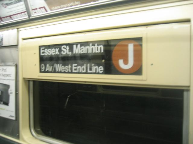 (69k, 640x480)<br><b>Country:</b> United States<br><b>City:</b> New York<br><b>System:</b> New York City Transit<br><b>Route:</b> J<br><b>Car:</b> R-42 (St. Louis, 1969-1970) Interior <br><b>Photo by:</b> Charles Ali<br><b>Date:</b> 6/17/2006<br><b>Notes:</b> R42 rollsign.<br><b>Viewed (this week/total):</b> 2 / 3070