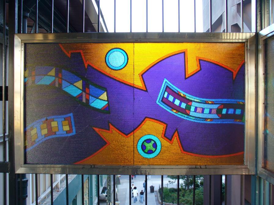 (141k, 896x672)<br><b>Country:</b> United States<br><b>City:</b> New York<br><b>System:</b> New York City Transit<br><b>Line:</b> BMT Nassau Street-Jamaica Line<br><b>Location:</b> Flushing Avenue<br><b>Photo by:</b> Robbie Rosenfeld<br><b>Date:</b> 10/10/2006<br><b>Artwork:</b> <i>Migrations</i>, Robin Holder, 2006<br><b>Viewed (this week/total):</b> 7 / 2251