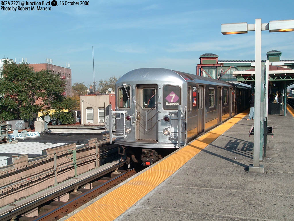 (206k, 1024x768)<br><b>Country:</b> United States<br><b>City:</b> New York<br><b>System:</b> New York City Transit<br><b>Line:</b> IRT Flushing Line<br><b>Location:</b> Junction Boulevard<br><b>Route:</b> 7<br><b>Car:</b> R-62A (Bombardier, 1984-1987) 2221 <br><b>Photo by:</b> Robert Marrero<br><b>Date:</b> 10/16/2006<br><b>Notes:</b> R62A 5-car sets from the #1 temporarily assigned to the 7.<br><b>Viewed (this week/total):</b> 1 / 3407