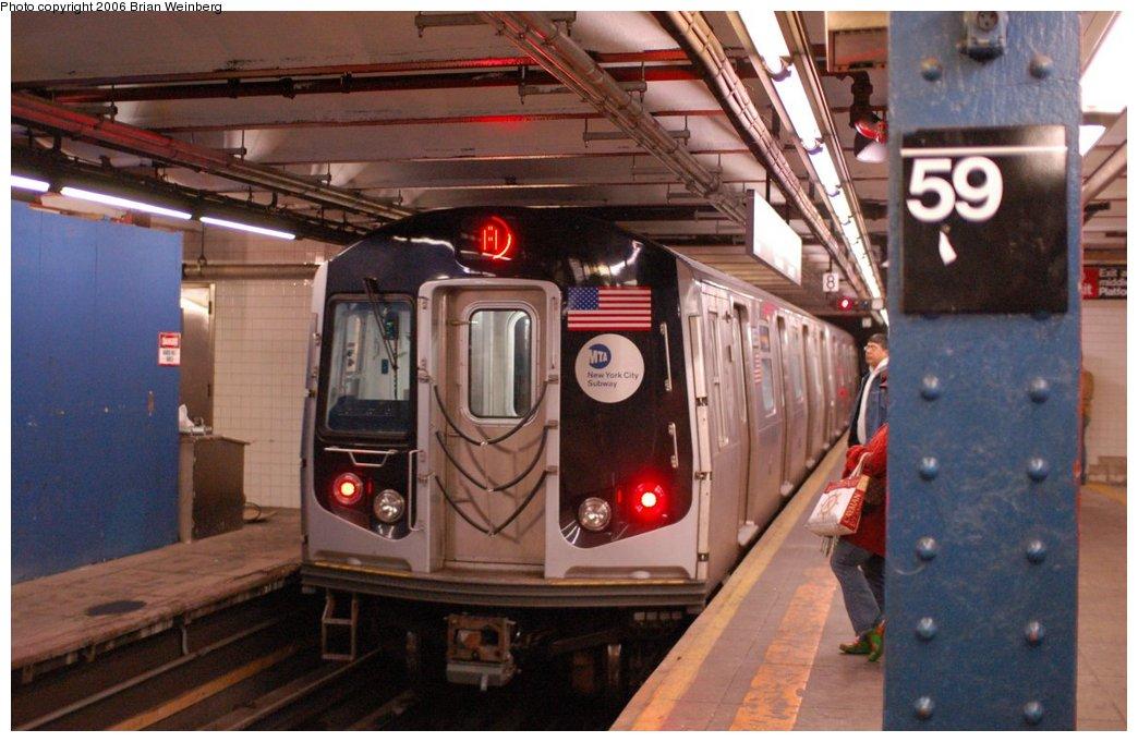 (202k, 1044x681)<br><b>Country:</b> United States<br><b>City:</b> New York<br><b>System:</b> New York City Transit<br><b>Line:</b> IND 8th Avenue Line<br><b>Location:</b> 59th Street/Columbus Circle<br><b>Route:</b> A<br><b>Car:</b> R-160A-2 (Alstom, 2005-2008, 5 car sets) 8653 <br><b>Photo by:</b> Brian Weinberg<br><b>Date:</b> 10/17/2006<br><b>Notes:</b> Second day of 30 day test.<br><b>Viewed (this week/total):</b> 7 / 7163