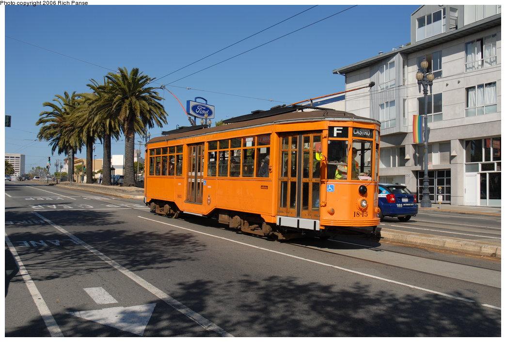 (208k, 1044x705)<br><b>Country:</b> United States<br><b>City:</b> San Francisco/Bay Area, CA<br><b>System:</b> SF MUNI<br><b>Location:</b> Market/Church/14th<br><b>Car:</b> Milan Milano/Peter Witt (1927-1930) 1815 <br><b>Photo by:</b> Richard Panse<br><b>Date:</b> 7/2/2006<br><b>Viewed (this week/total):</b> 0 / 518