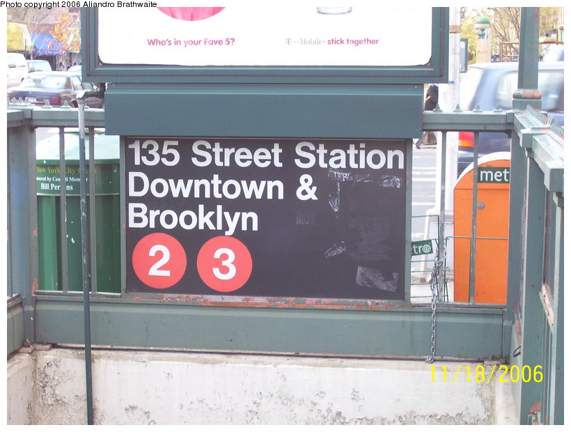 (114k, 820x620)<br><b>Country:</b> United States<br><b>City:</b> New York<br><b>System:</b> New York City Transit<br><b>Line:</b> IRT Lenox Avenue Line<br><b>Location:</b> 135th Street<br><b>Photo by:</b> Aliandro Brathwaite<br><b>Date:</b> 11/18/2006<br><b>Viewed (this week/total):</b> 2 / 3079