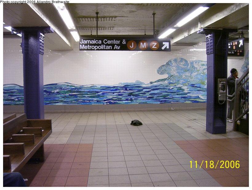 (122k, 820x620)<br><b>Country:</b> United States<br><b>City:</b> New York<br><b>System:</b> New York City Transit<br><b>Line:</b> IND 6th Avenue Line<br><b>Location:</b> Delancey Street<br><b>Photo by:</b> Aliandro Brathwaite<br><b>Date:</b> 11/18/2006<br><b>Artwork:</b> <i>Shad Crossing</i>, Ming Fay, 2004<br><b>Viewed (this week/total):</b> 1 / 3890