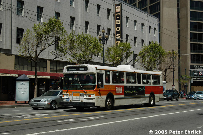 (185k, 792x526)<br><b>Country:</b> United States<br><b>City:</b> San Francisco/Bay Area, CA<br><b>System:</b> SF MUNI<br><b>Line:</b> SF MUNI Trolley Coach Routes<br><b>Car:</b> SF MUNI Trolley Coach (Flyer E800, 1975-77) 5020 <br><b>Photo by:</b> Peter Ehrlich<br><b>Date:</b> 4/20/2005<br><b>Notes:</b> Market/11th Street outbound.  Line 6-Parnassus.<br><b>Viewed (this week/total):</b> 1 / 2860