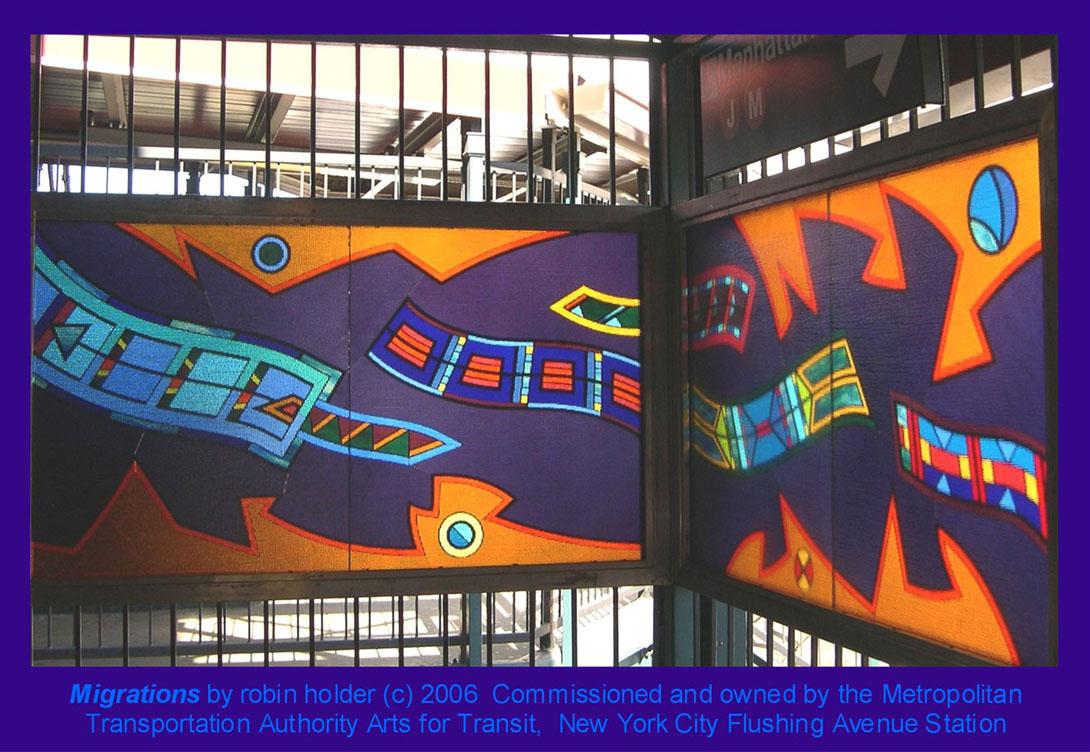 (210k, 1090x752)<br><b>Country:</b> United States<br><b>City:</b> New York<br><b>System:</b> New York City Transit<br><b>Line:</b> BMT Nassau Street-Jamaica Line<br><b>Location:</b> Flushing Avenue<br><b>Photo by:</b> Seth Morgan<br><b>Date:</b> 2006<br><b>Artwork:</b> <i>Migrations</i>, Robin Holder, 2006<br><b>Notes:</b> <i>Migrations</i> panels 24 and 23. Photo by the artist.<br><b>Viewed (this week/total):</b> 4 / 2156