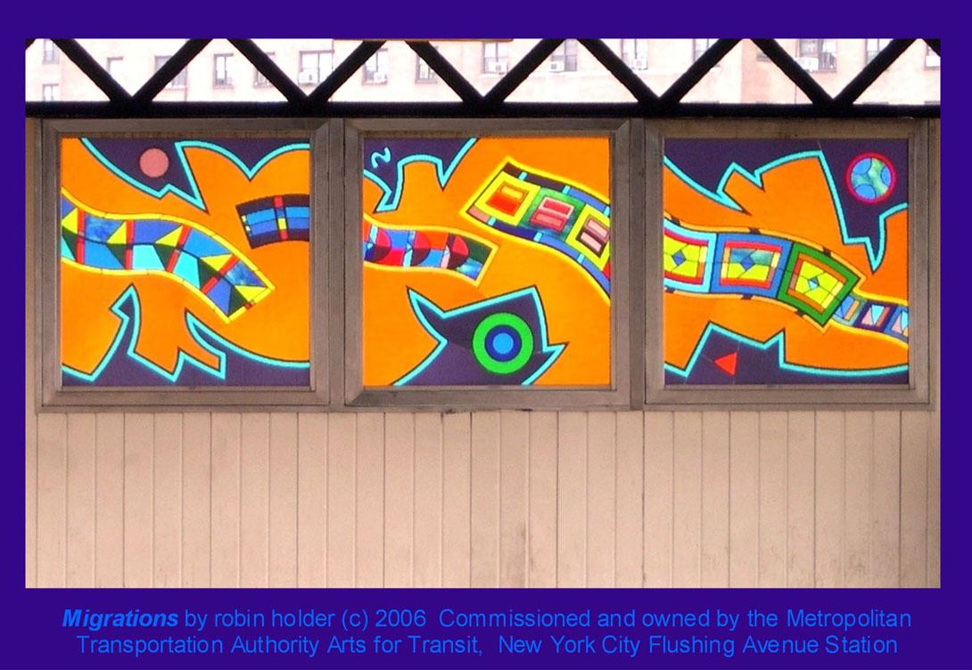 (188k, 1090x752)<br><b>Country:</b> United States<br><b>City:</b> New York<br><b>System:</b> New York City Transit<br><b>Line:</b> BMT Nassau Street-Jamaica Line<br><b>Location:</b> Flushing Avenue<br><b>Photo by:</b> Robin Holder<br><b>Date:</b> 2006<br><b>Artwork:</b> <i>Migrations</i>, Robin Holder, 2006<br><b>Notes:</b> <i>Migrations</i> panels 11, 12 and 13. Photo by the artist.<br><b>Viewed (this week/total):</b> 7 / 2736