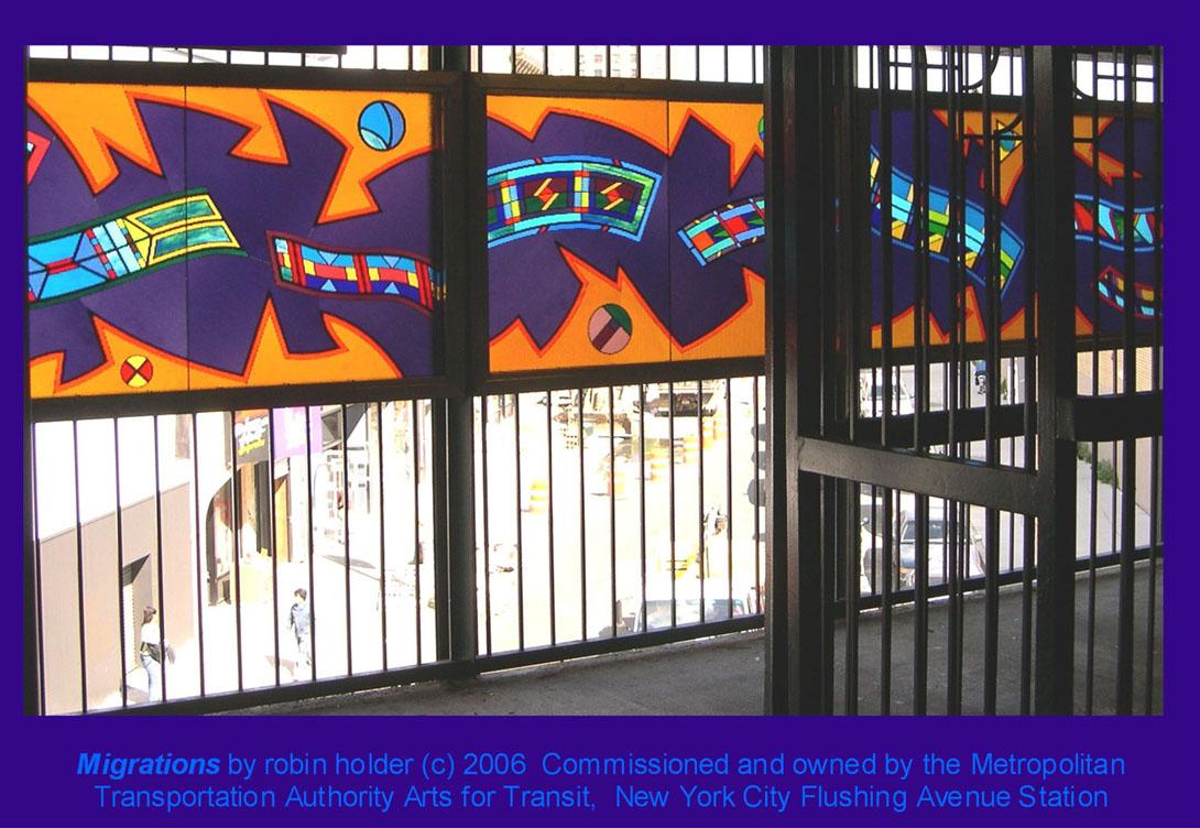 (208k, 1090x752)<br><b>Country:</b> United States<br><b>City:</b> New York<br><b>System:</b> New York City Transit<br><b>Line:</b> BMT Nassau Street-Jamaica Line<br><b>Location:</b> Flushing Avenue<br><b>Photo by:</b> Robin Holder<br><b>Date:</b> 2006<br><b>Artwork:</b> <i>Migrations</i>, Robin Holder, 2006<br><b>Notes:</b> <i>Migrations</i> panels 23, 22, and 21. Photo by the artist.<br><b>Viewed (this week/total):</b> 4 / 2153