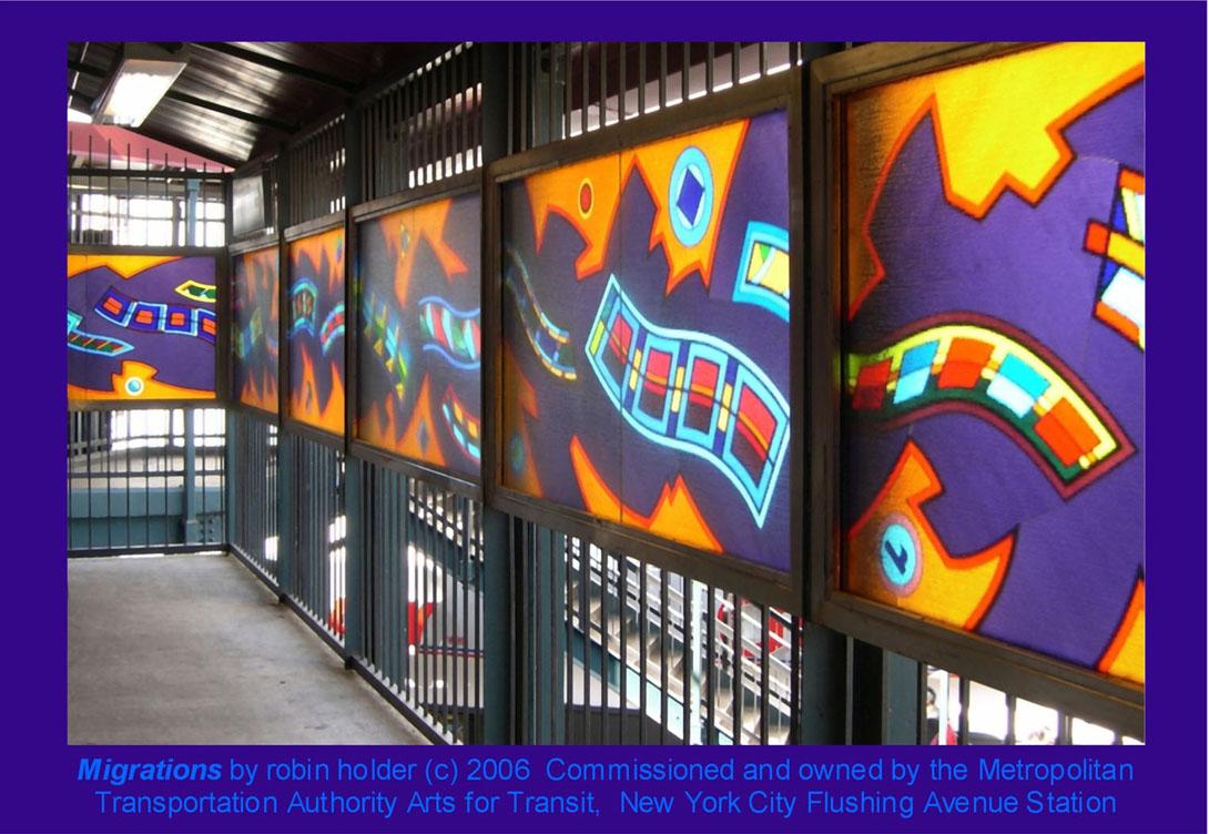 (201k, 1090x752)<br><b>Country:</b> United States<br><b>City:</b> New York<br><b>System:</b> New York City Transit<br><b>Line:</b> BMT Nassau Street-Jamaica Line<br><b>Location:</b> Flushing Avenue<br><b>Photo by:</b> Robin Holder<br><b>Date:</b> 2006<br><b>Artwork:</b> <i>Migrations</i>, Robin Holder, 2006<br><b>Notes:</b> <i>Migrations</i> panels 24, 23, 22, 21, 20, and 19. Photo by the artist.<br><b>Viewed (this week/total):</b> 5 / 2479