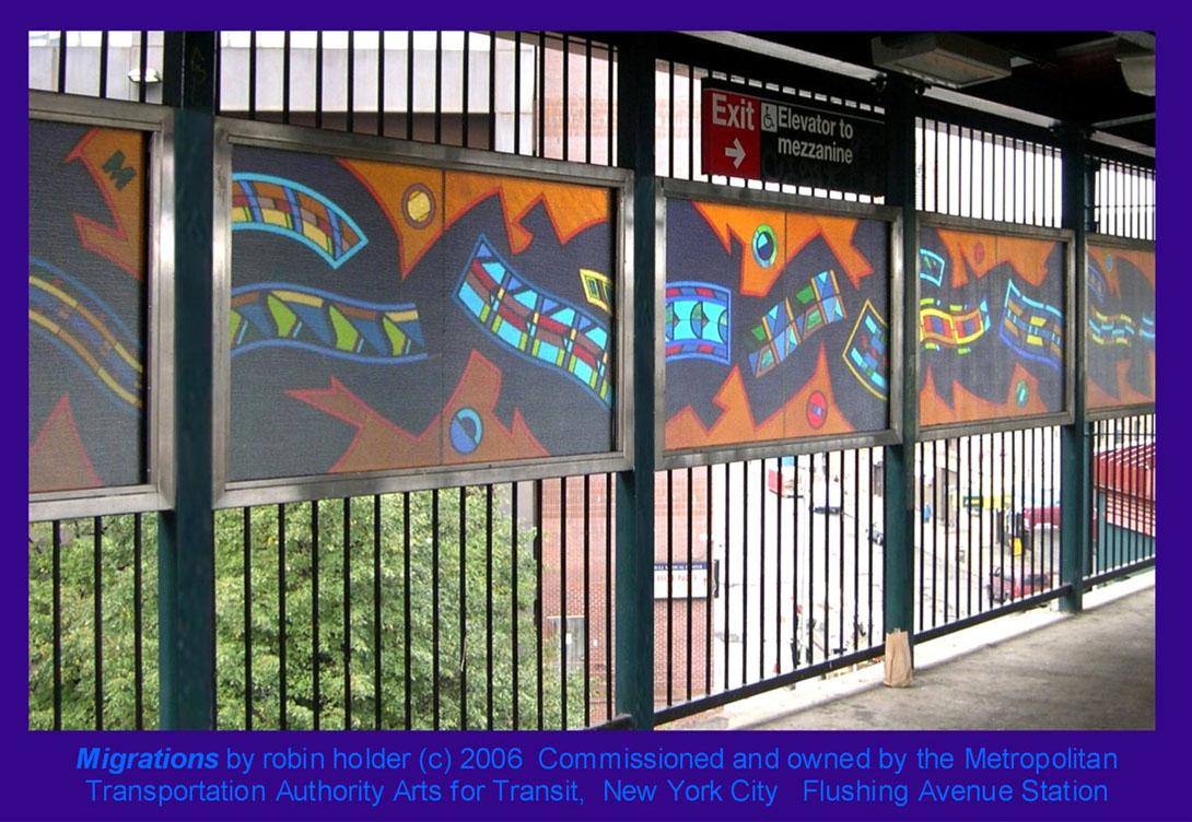 (240k, 1090x752)<br><b>Country:</b> United States<br><b>City:</b> New York<br><b>System:</b> New York City Transit<br><b>Line:</b> BMT Nassau Street-Jamaica Line<br><b>Location:</b> Flushing Avenue<br><b>Photo by:</b> Robin Holder<br><b>Date:</b> 2006<br><b>Artwork:</b> <i>Migrations</i>, Robin Holder, 2006<br><b>Notes:</b> <i>Migrations</i> panels 33, 32, 31, 30, and 29. Photo by the artist.<br><b>Viewed (this week/total):</b> 2 / 2375