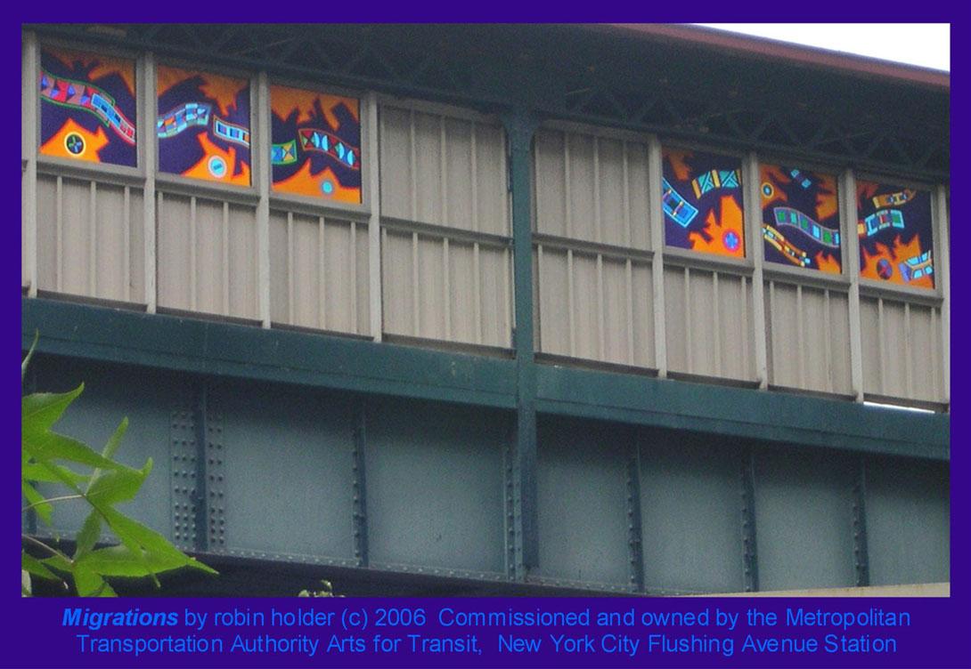 (162k, 1090x752)<br><b>Country:</b> United States<br><b>City:</b> New York<br><b>System:</b> New York City Transit<br><b>Line:</b> BMT Nassau Street-Jamaica Line<br><b>Location:</b> Flushing Avenue<br><b>Photo by:</b> Robin Holder<br><b>Date:</b> 2006<br><b>Artwork:</b> <i>Migrations</i>, Robin Holder, 2006<br><b>Notes:</b> <i>Migrations</i> panels 5, 6, 7, 8, 9, and 10. Photo by the artist.<br><b>Viewed (this week/total):</b> 2 / 2363