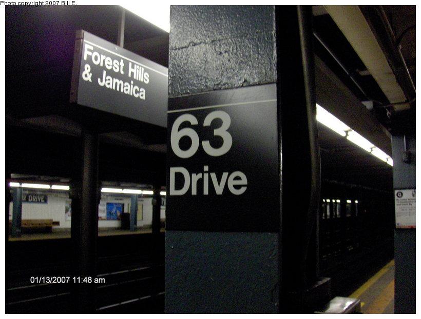 (95k, 820x622)<br><b>Country:</b> United States<br><b>City:</b> New York<br><b>System:</b> New York City Transit<br><b>Line:</b> IND Queens Boulevard Line<br><b>Location:</b> 63rd Drive/Rego Park<br><b>Photo by:</b> Bill E.<br><b>Date:</b> 1/13/2007<br><b>Notes:</b> I-Beam sign.<br><b>Viewed (this week/total):</b> 1 / 2478