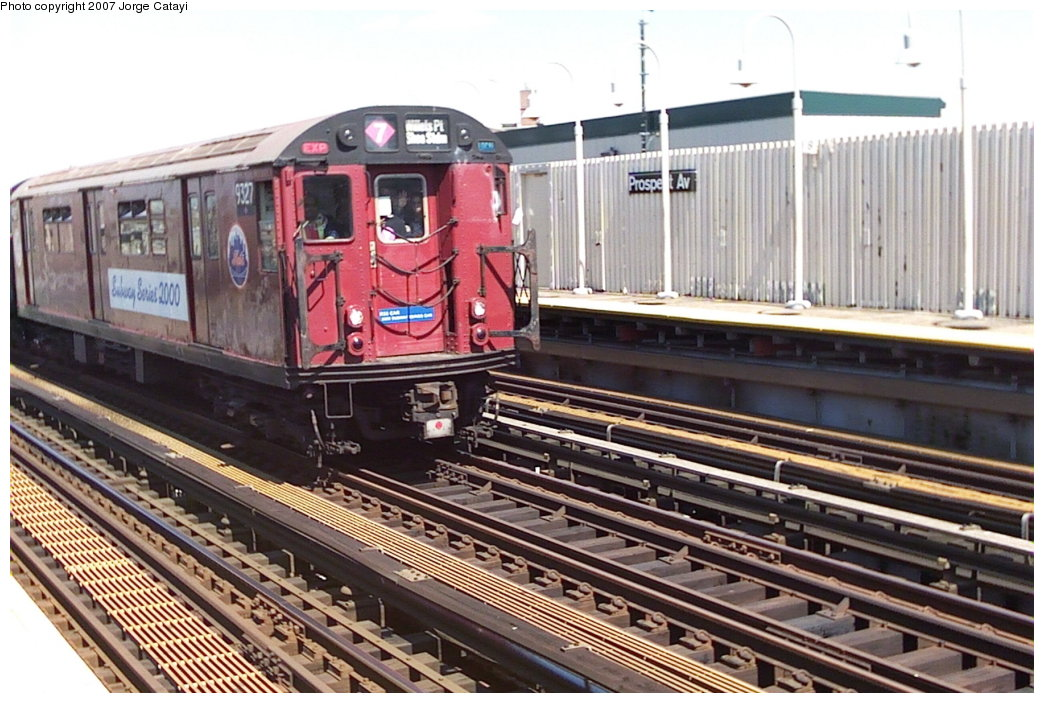 (181k, 1044x703)<br><b>Country:</b> United States<br><b>City:</b> New York<br><b>System:</b> New York City Transit<br><b>Line:</b> IRT White Plains Road Line<br><b>Location:</b> Prospect Avenue<br><b>Route:</b> Fan Trip<br><b>Car:</b> R-33 World's Fair (St. Louis, 1963-64) 9327 <br><b>Photo by:</b> Jorge Catayi<br><b>Date:</b> 5/1/2005<br><b>Viewed (this week/total):</b> 0 / 2903