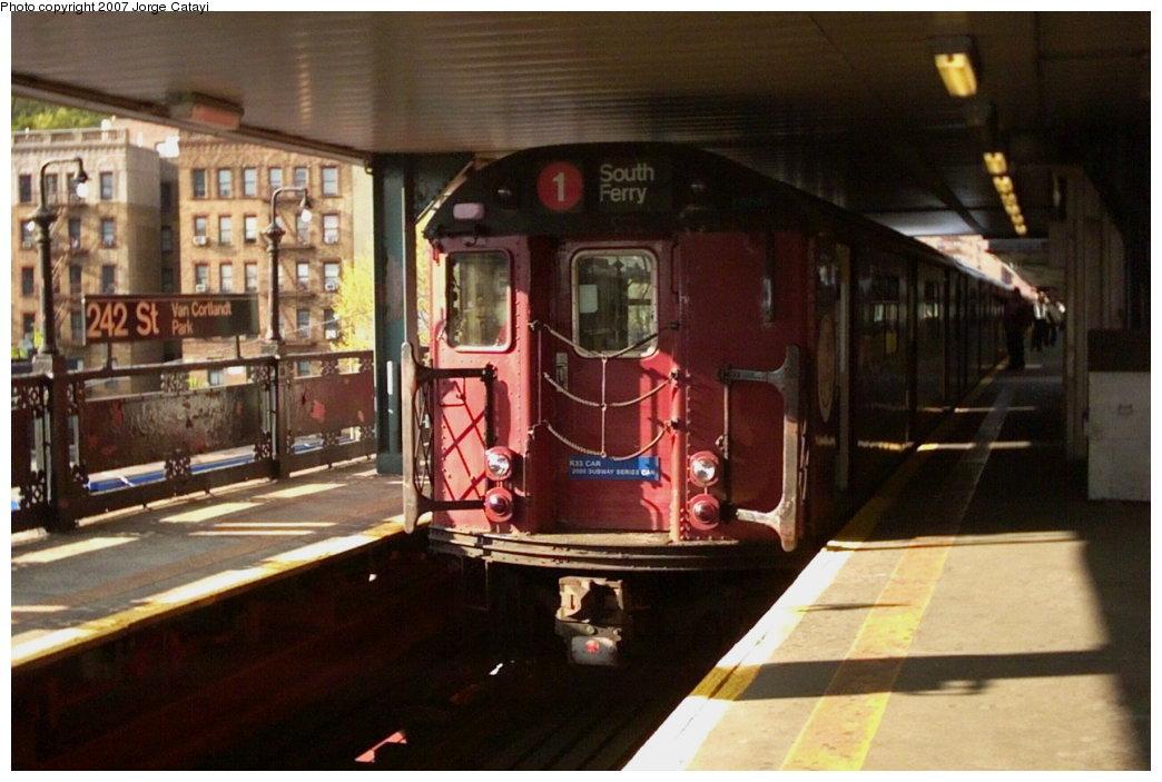 (144k, 1044x703)<br><b>Country:</b> United States<br><b>City:</b> New York<br><b>System:</b> New York City Transit<br><b>Line:</b> IRT West Side Line<br><b>Location:</b> 242nd Street/Van Cortlandt Park<br><b>Route:</b> Fan Trip<br><b>Car:</b> R-33 World's Fair (St. Louis, 1963-64) 9327 <br><b>Photo by:</b> Jorge Catayi<br><b>Date:</b> 5/1/2005<br><b>Viewed (this week/total):</b> 0 / 4909