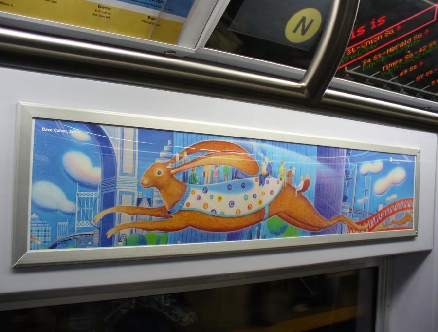 (103k, 900x681)<br><b>Country:</b> United States<br><b>City:</b> New York<br><b>System:</b> New York City Transit<br><b>Location:</b> Subway Car Interior Art<br><b>Photo by:</b> Robbie Rosenfeld<br><b>Date:</b> 2/2/2007<br><b>Artwork:</b> <i>Rabbit Transit (unofficial name)</i>, Dave Calver, 2006<br><b>Viewed (this week/total):</b> 0 / 3834