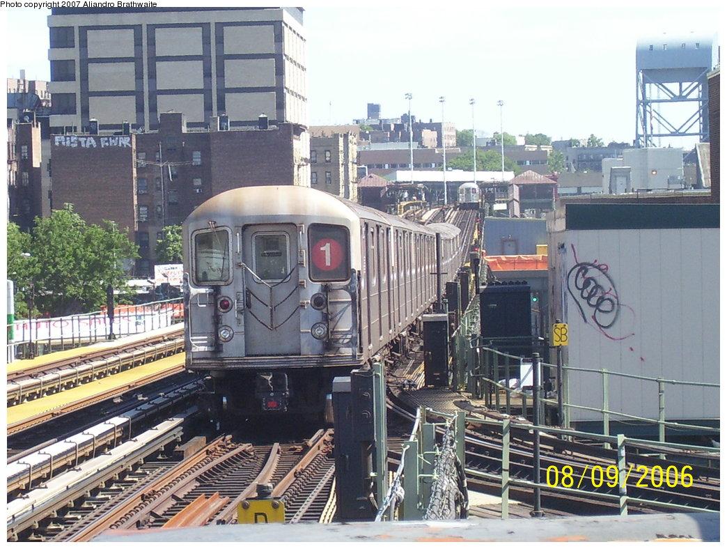 (224k, 1044x788)<br><b>Country:</b> United States<br><b>City:</b> New York<br><b>System:</b> New York City Transit<br><b>Line:</b> IRT West Side Line<br><b>Location:</b> 207th Street<br><b>Route:</b> 1<br><b>Car:</b> R-62 (Kawasaki, 1983-1985)  <br><b>Photo by:</b> Aliandro Brathwaite<br><b>Date:</b> 8/9/2006<br><b>Viewed (this week/total):</b> 0 / 3659