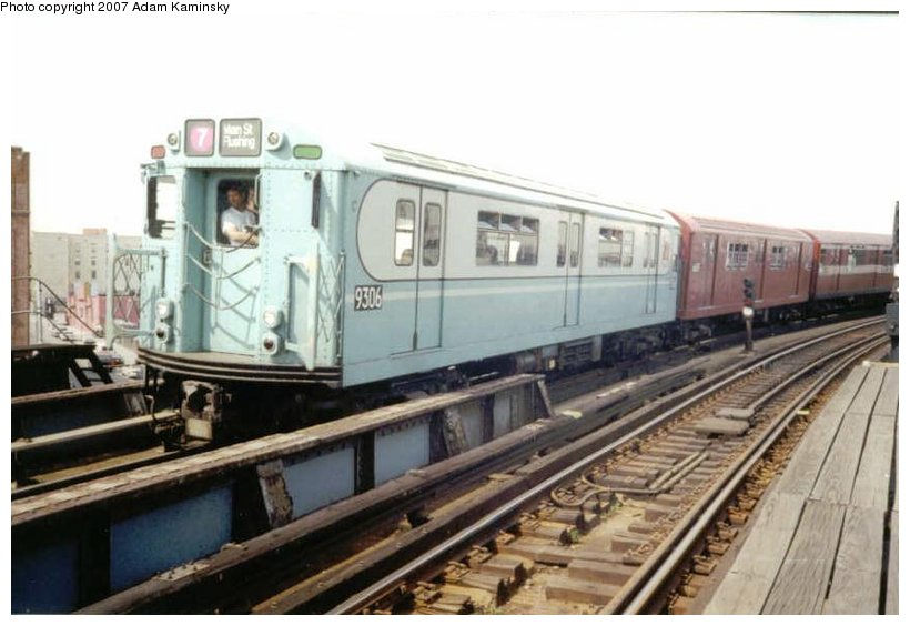 (82k, 820x564)<br><b>Country:</b> United States<br><b>City:</b> New York<br><b>System:</b> New York City Transit<br><b>Line:</b> IRT Pelham Line<br><b>Location:</b> Whitlock Avenue<br><b>Route:</b> Fan Trip<br><b>Car:</b> R-33 World's Fair (St. Louis, 1963-64) 9306 <br><b>Photo by:</b> Adam Kaminsky<br><b>Date:</b> 6/29/2003<br><b>Viewed (this week/total):</b> 0 / 2270