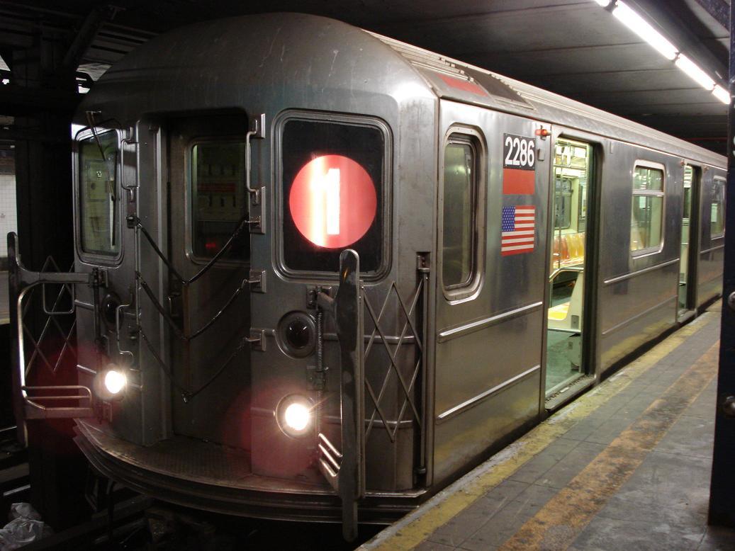 (117k, 1037x778)<br><b>Country:</b> United States<br><b>City:</b> New York<br><b>System:</b> New York City Transit<br><b>Line:</b> IRT West Side Line<br><b>Location:</b> 14th Street<br><b>Route:</b> 1<br><b>Car:</b> R-62A (Bombardier, 1984-1987) 2286 <br><b>Photo by:</b> Michael Hodurski<br><b>Date:</b> 2/17/2007<br><b>Viewed (this week/total):</b> 4 / 4100