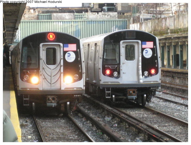 (97k, 660x500)<br><b>Country:</b> United States<br><b>City:</b> New York<br><b>System:</b> New York City Transit<br><b>Line:</b> BMT Sea Beach Line<br><b>Location:</b> 18th Avenue<br><b>Route:</b> N<br><b>Car:</b> R-160A-2 (Alstom, 2005-2008, 5 car sets) 8653 <br><b>Photo by:</b> John Dooley<br><b>Collection of:</b> Michael Hodurski<br><b>Date:</b> 1/19/2007<br><b>Notes:</b> With R160B 8843 on test track.<br><b>Viewed (this week/total):</b> 0 / 8535