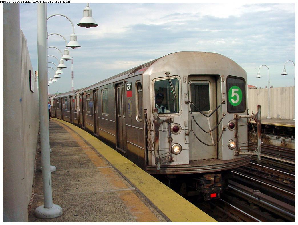 (123k, 1044x788)<br><b>Country:</b> United States<br><b>City:</b> New York<br><b>System:</b> New York City Transit<br><b>Line:</b> IRT White Plains Road Line<br><b>Location:</b> West Farms Sq./East Tremont Ave./177th St.<br><b>Route:</b> 5<br><b>Car:</b> R-62A (Bombardier, 1984-1987) 2361 <br><b>Photo by:</b> David Pirmann<br><b>Date:</b> 7/3/2001<br><b>Viewed (this week/total):</b> 0 / 8208