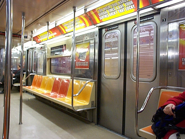 (138k, 640x480)<br><b>Country:</b> United States<br><b>City:</b> New York<br><b>System:</b> New York City Transit<br><b>Line:</b> IRT West Side Line<br><b>Route:</b> 1<br><b>Car:</b> R-62A (Bombardier, 1984-1987) 2419 <br><b>Photo by:</b> Richard Brome<br><b>Date:</b> 3/19/1999<br><b>Viewed (this week/total):</b> 4 / 18476