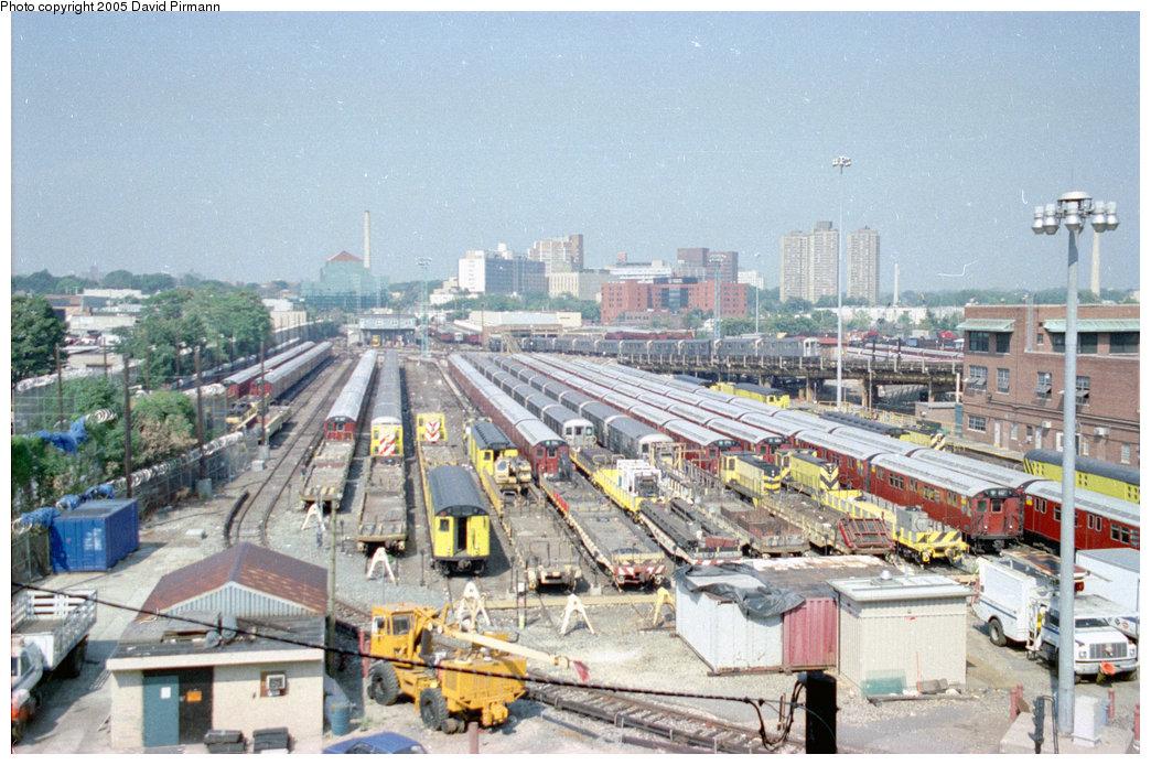 (237k, 1044x694)<br><b>Country:</b> United States<br><b>City:</b> New York<br><b>System:</b> New York City Transit<br><b>Location:</b> Westchester Yard<br><b>Photo by:</b> David Pirmann<br><b>Date:</b> 9/13/1998<br><b>Notes:</b> Overview of yard<br><b>Viewed (this week/total):</b> 1 / 3811