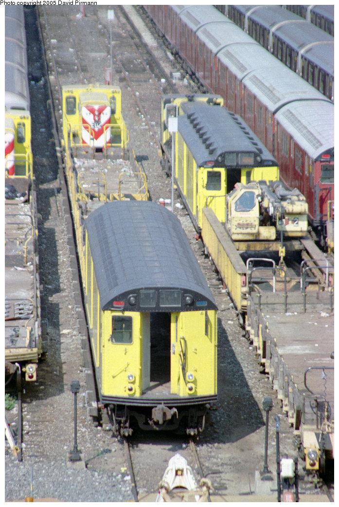 (235k, 697x1044)<br><b>Country:</b> United States<br><b>City:</b> New York<br><b>System:</b> New York City Transit<br><b>Location:</b> Westchester Yard<br><b>Photo by:</b> David Pirmann<br><b>Date:</b> 9/13/1998<br><b>Notes:</b> Loco E02 with R14 and R21/22 work cars<br><b>Viewed (this week/total):</b> 0 / 2632