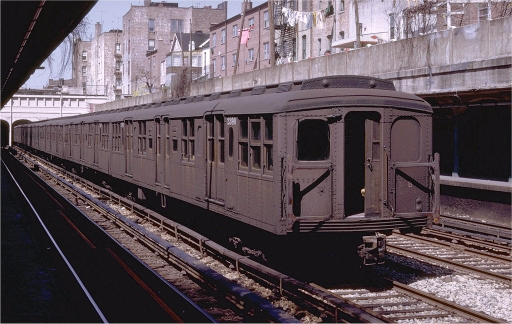 (242k, 1024x648)<br><b>Country:</b> United States<br><b>City:</b> New York<br><b>System:</b> New York City Transit<br><b>Line:</b> BMT Sea Beach Line<br><b>Location:</b> Bay Parkway (22nd Avenue)<br><b>Car:</b> BMT A/B-Type Standard 2390 <br><b>Photo by:</b> Joe Testagrose<br><b>Date:</b> 4/13/1969<br><b>Viewed (this week/total):</b> 0 / 4014