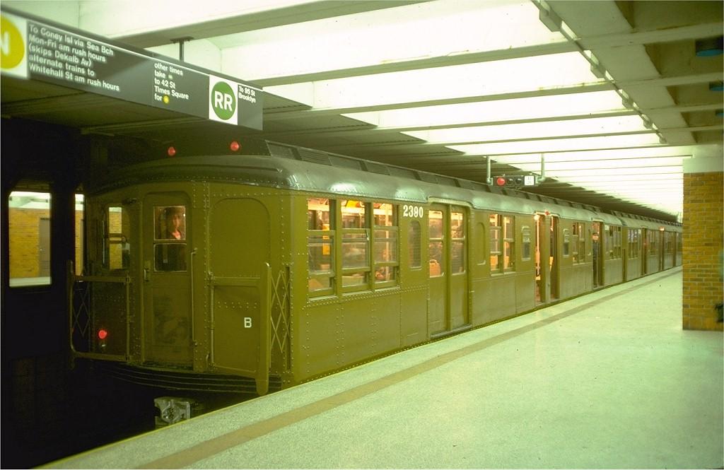 (164k, 1024x665)<br><b>Country:</b> United States<br><b>City:</b> New York<br><b>System:</b> New York City Transit<br><b>Line:</b> BMT Broadway Line<br><b>Location:</b> 49th Street<br><b>Route:</b> Fan Trip<br><b>Car:</b> BMT A/B-Type Standard 2390 <br><b>Photo by:</b> Doug Grotjahn<br><b>Collection of:</b> Joe Testagrose<br><b>Date:</b> 4/16/1977<br><b>Viewed (this week/total):</b> 6 / 6959