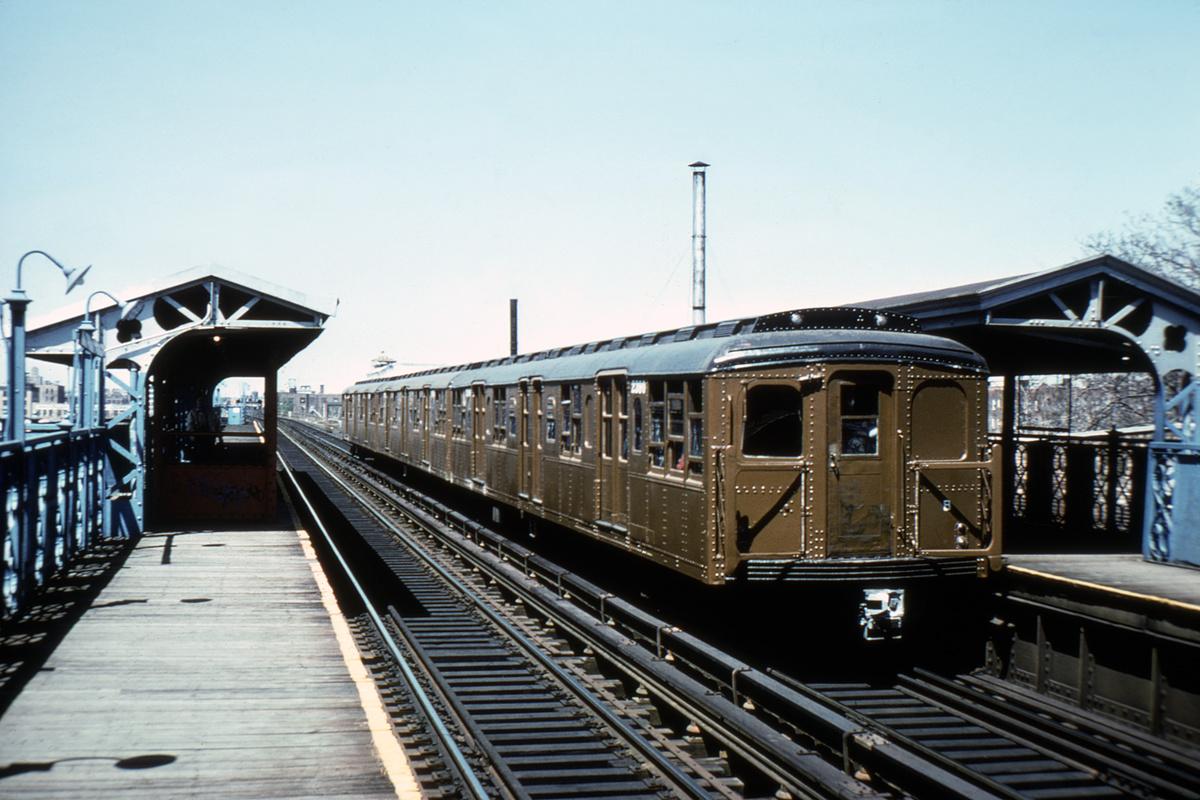 (419k, 1200x800)<br><b>Country:</b> United States<br><b>City:</b> New York<br><b>System:</b> New York City Transit<br><b>Line:</b> BMT Canarsie Line<br><b>Location:</b> Livonia Avenue<br><b>Route:</b> Fan Trip<br><b>Car:</b> BMT A/B-Type Standard 2390 <br><b>Photo by:</b> Steve Zabel<br><b>Collection of:</b> David Pirmann<br><b>Date:</b> 4/30/1977<br><b>Viewed (this week/total):</b> 0 / 4069
