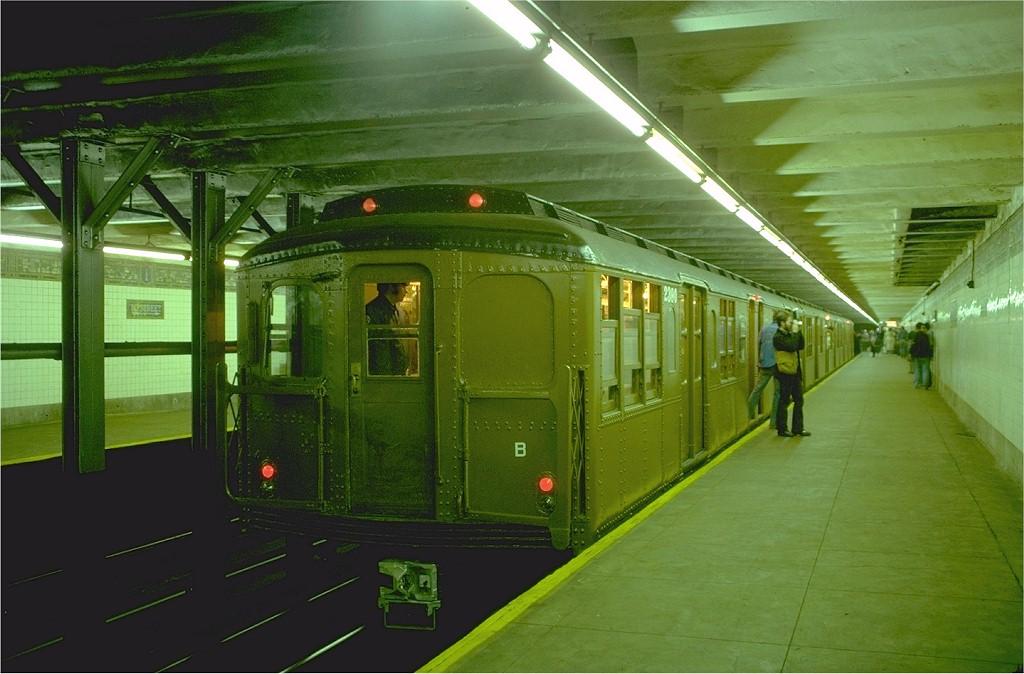 (173k, 1024x674)<br><b>Country:</b> United States<br><b>City:</b> New York<br><b>System:</b> New York City Transit<br><b>Line:</b> BMT Canarsie Line<br><b>Location:</b> 1st Avenue<br><b>Route:</b> Fan Trip<br><b>Car:</b> BMT A/B-Type Standard 2390 <br><b>Photo by:</b> Doug Grotjahn<br><b>Collection of:</b> Joe Testagrose<br><b>Date:</b> 4/30/1977<br><b>Viewed (this week/total):</b> 0 / 6190