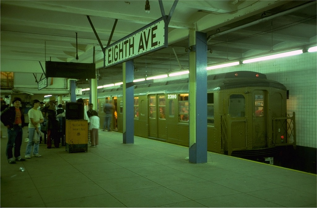 (144k, 1024x674)<br><b>Country:</b> United States<br><b>City:</b> New York<br><b>System:</b> New York City Transit<br><b>Line:</b> BMT Canarsie Line<br><b>Location:</b> 8th Avenue<br><b>Route:</b> Fan Trip<br><b>Car:</b> BMT A/B-Type Standard 2390 <br><b>Photo by:</b> Doug Grotjahn<br><b>Collection of:</b> Joe Testagrose<br><b>Date:</b> 4/30/1977<br><b>Viewed (this week/total):</b> 1 / 4234