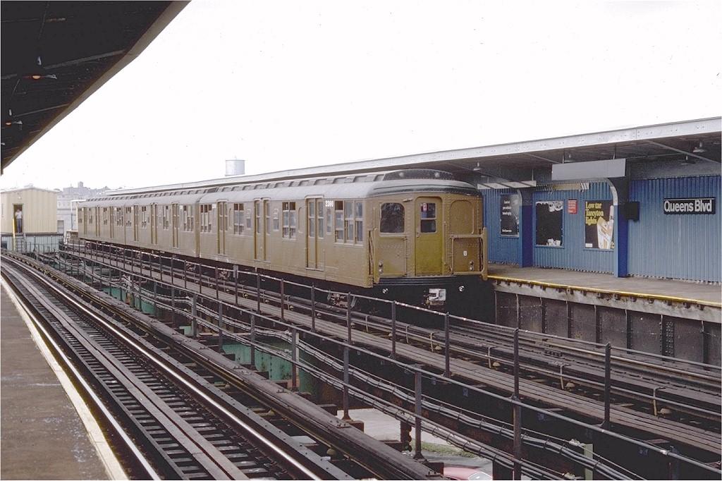 (202k, 1024x682)<br><b>Country:</b> United States<br><b>City:</b> New York<br><b>System:</b> New York City Transit<br><b>Line:</b> BMT Nassau Street-Jamaica Line<br><b>Location:</b> Queens Boulevard (Demolished)<br><b>Route:</b> Fan Trip<br><b>Car:</b> BMT A/B-Type Standard 2390 <br><b>Photo by:</b> Doug Grotjahn<br><b>Collection of:</b> Joe Testagrose<br><b>Date:</b> 9/10/1977<br><b>Viewed (this week/total):</b> 0 / 5296