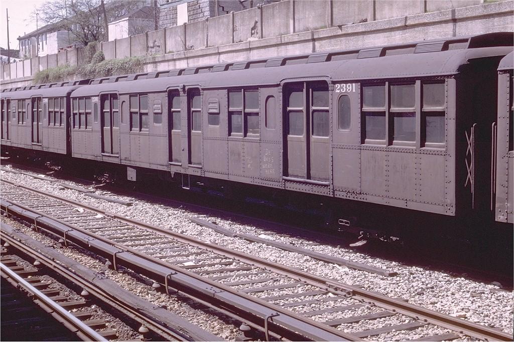 (269k, 1024x682)<br><b>Country:</b> United States<br><b>City:</b> New York<br><b>System:</b> New York City Transit<br><b>Line:</b> BMT Sea Beach Line<br><b>Location:</b> Bay Parkway (22nd Avenue)<br><b>Car:</b> BMT A/B-Type Standard 2391 <br><b>Photo by:</b> Joe Testagrose<br><b>Date:</b> 4/13/1969<br><b>Viewed (this week/total):</b> 1 / 5612
