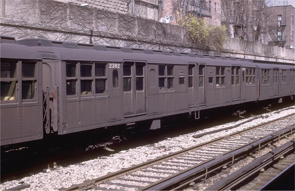 (259k, 1024x664)<br><b>Country:</b> United States<br><b>City:</b> New York<br><b>System:</b> New York City Transit<br><b>Line:</b> BMT Sea Beach Line<br><b>Location:</b> Bay Parkway (22nd Avenue)<br><b>Car:</b> BMT A/B-Type Standard 2392 <br><b>Photo by:</b> Joe Testagrose<br><b>Date:</b> 4/13/1969<br><b>Viewed (this week/total):</b> 1 / 3489