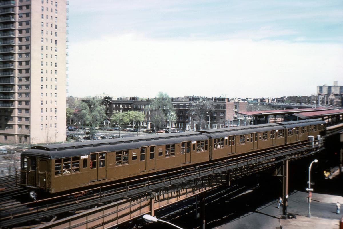 (404k, 1200x800)<br><b>Country:</b> United States<br><b>City:</b> New York<br><b>System:</b> New York City Transit<br><b>Line:</b> BMT Brighton Line<br><b>Location:</b> Ocean Parkway<br><b>Route:</b> Fan Trip<br><b>Car:</b> BMT A/B-Type Standard 2392 <br><b>Photo by:</b> Steve Zabel<br><b>Collection of:</b> David Pirmann<br><b>Date:</b> 4/16/1977<br><b>Viewed (this week/total):</b> 3 / 5317