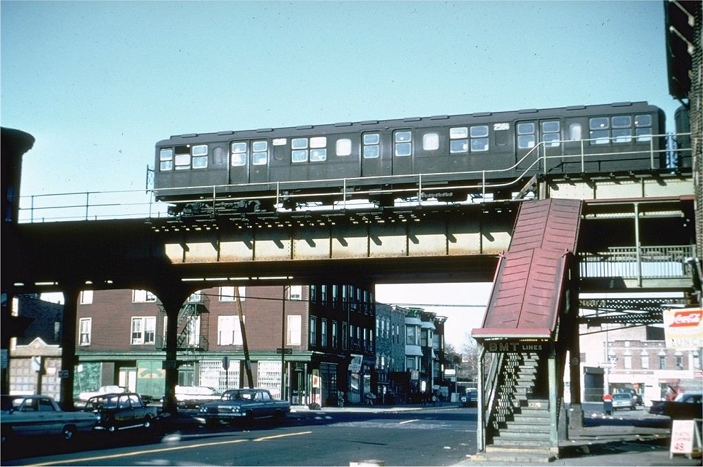 (221k, 1024x680)<br><b>Country:</b> United States<br><b>City:</b> New York<br><b>System:</b> New York City Transit<br><b>Line:</b> BMT Culver Line<br><b>Location:</b> 13th Avenue<br><b>Route:</b> Culver Shuttle<br><b>Car:</b> BMT A/B-Type Standard 2584 <br><b>Photo by:</b> Doug Grotjahn<br><b>Collection of:</b> Joe Testagrose<br><b>Date:</b> 3/23/1969<br><b>Viewed (this week/total):</b> 4 / 8254