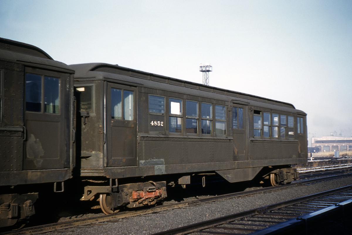 (349k, 1200x800)<br><b>Country:</b> United States<br><b>City:</b> New York<br><b>System:</b> New York City Transit<br><b>Location:</b> Coney Island Yard<br><b>Car:</b> Low-V 4852 <br><b>Collection of:</b> David Pirmann<br><b>Date:</b> 11/26/1960<br><b>Viewed (this week/total):</b> 1 / 5187