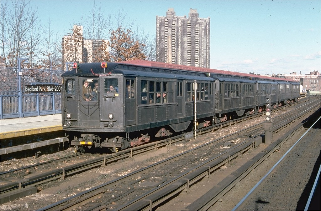 (265k, 1024x675)<br><b>Country:</b> United States<br><b>City:</b> New York<br><b>System:</b> New York City Transit<br><b>Line:</b> IRT Woodlawn Line<br><b>Location:</b> Bedford Park Boulevard<br><b>Route:</b> Fan Trip<br><b>Car:</b> Low-V (Museum Train) 5290 <br><b>Photo by:</b> Doug Grotjahn<br><b>Collection of:</b> Joe Testagrose<br><b>Date:</b> 12/11/1977<br><b>Viewed (this week/total):</b> 1 / 7914