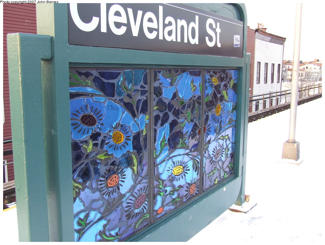 (198k, 1044x788)<br><b>Country:</b> United States<br><b>City:</b> New York<br><b>System:</b> New York City Transit<br><b>Line:</b> BMT Nassau Street-Jamaica Line<br><b>Location:</b> Cleveland Street<br><b>Photo by:</b> John Barnes<br><b>Date:</b> 3/7/2007<br><b>Artwork:</b> <i>Las Flores</i>, Amy Cheng, 2007<br><b>Viewed (this week/total):</b> 2 / 2363