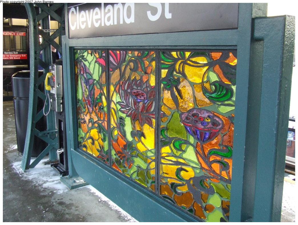 (227k, 1044x788)<br><b>Country:</b> United States<br><b>City:</b> New York<br><b>System:</b> New York City Transit<br><b>Line:</b> BMT Nassau Street-Jamaica Line<br><b>Location:</b> Cleveland Street<br><b>Photo by:</b> John Barnes<br><b>Date:</b> 3/7/2007<br><b>Artwork:</b> <i>Las Flores</i>, Amy Cheng, 2007<br><b>Viewed (this week/total):</b> 3 / 2637