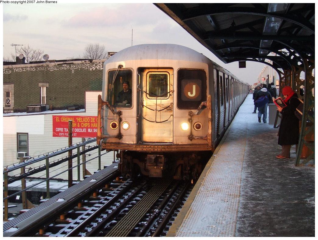 (217k, 1044x788)<br><b>Country:</b> United States<br><b>City:</b> New York<br><b>System:</b> New York City Transit<br><b>Line:</b> BMT Nassau Street-Jamaica Line<br><b>Location:</b> Cleveland Street<br><b>Route:</b> J<br><b>Car:</b> R-42 (St. Louis, 1969-1970) 4904 <br><b>Photo by:</b> John Barnes<br><b>Date:</b> 3/7/2007<br><b>Viewed (this week/total):</b> 2 / 3215